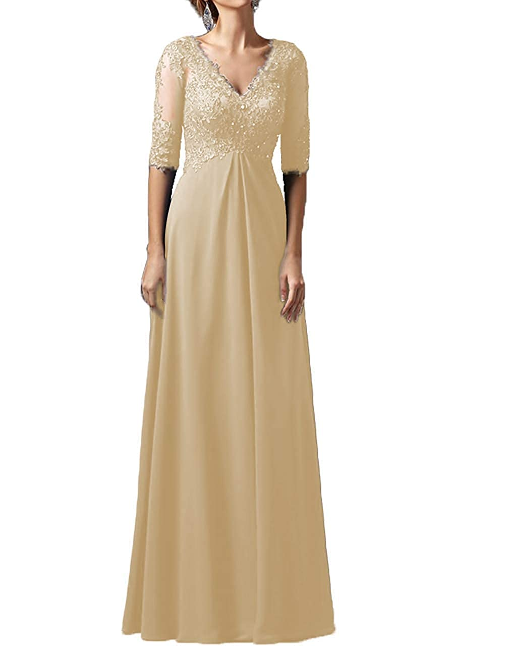 Champagne Mother Dress Long Sleeves V Neck Plus Size Mother of The Bride Dress Formal Party Evening Gowns