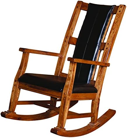 Sunny Designs Sedona Rocker with Black Seat and Back, Rustic Oak Finish