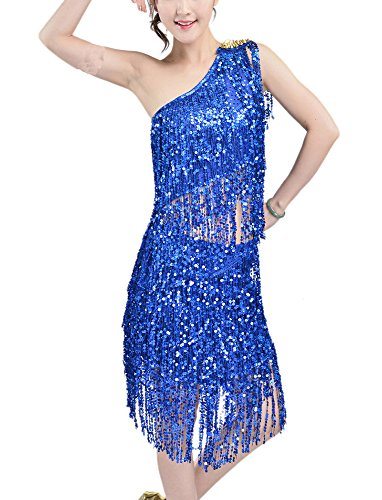 Whitewed Sparkle Rivet Gatsby Dance Theme Competition Dance Costumes Dress Blue, Blue, 0 / 2