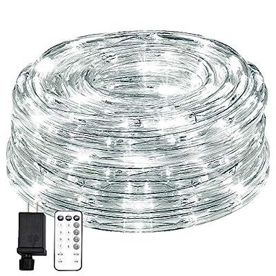 KVK 66ft 200 LED Rope Lights, 8 Mode Strip Light with Remote Flexible Waterproof Indoor Outdoor Tube Light Rope for Gazebo, Wedding, Patio, Home Decor, Garden Lighting (White)