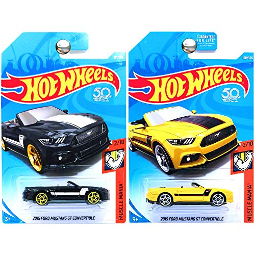 Hot Wheels 2018 Muscle Mania 2015 Ford Mustang GT Convertible Yellow Black Set of 2