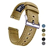 22mm Canvas Quick Release Watch Band Khaki Replacement Watch Straps for Men Women