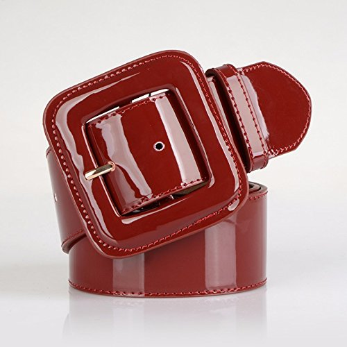 ERLINGSAN-YD Cinturón de cuero de la mujer de charol ancho sello decorativo  vestido abajo 1a6594b26fcd