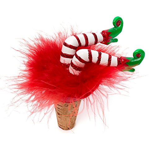 Hottie Elf Bottoms Up Babe Christmas Wine Bottle Stopper with Red Feathers