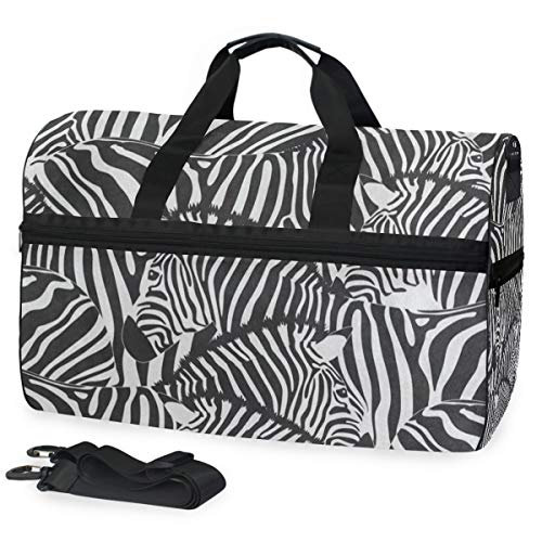 Black Zebra Print Animal Sports Gym Bag with Shoes Compartment Travel Duffel Bag for Men Women