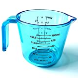 6 oz frothing pitcher - Plastic Measuring Cup, 6 Oz NPYPQ Thicken Clear Measuring Cup with Double-Sided Scale and Handle for Dry Solids, Liquid, Dog Food - BPA Free Dishwasher Safe 150ml, Blue