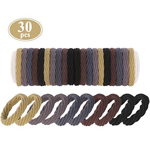 Thick Seamless Hair Ties, Funtopia 30 Pcs High Elastic Hair Bands Ropes Ponytail Holders Sports Hair Ties for Thick Hair & Extra Thick Hair, No Crease No Damage Soft Hair Elastics (Neutral Colors)