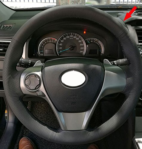 Eiseng DIY Genuine Leather Steering Wheel Cover Custom for 3-Spokes Toyota Camry 2012 2013 2014 2015 2016 2017 (Black leather with Black (3 Spoke Custom Steering Wheel)