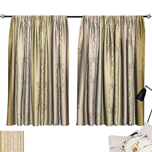 SINXY&CASE Thermal Insulated Blackout Curtains Flourish Vintage Seamless Wallpaper 72