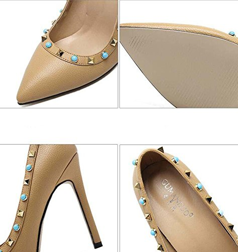 Stiletto Court Onfly Charming High Work 11cm Comfortable Shoes Pump Heeled Ol Women's Rivets Scarpin Shoes Black Gem r6RvgHqr