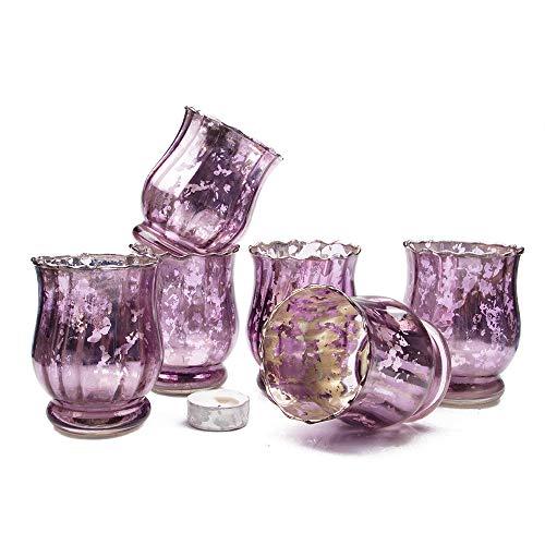 Chive - Set of 6 Vie Jolie Small Vintage Mercury Glass Flower Vase, Candle Votive, Decorative Vase for Wedding Centrepieces Home Decor and Place Settings (Lucie)]()