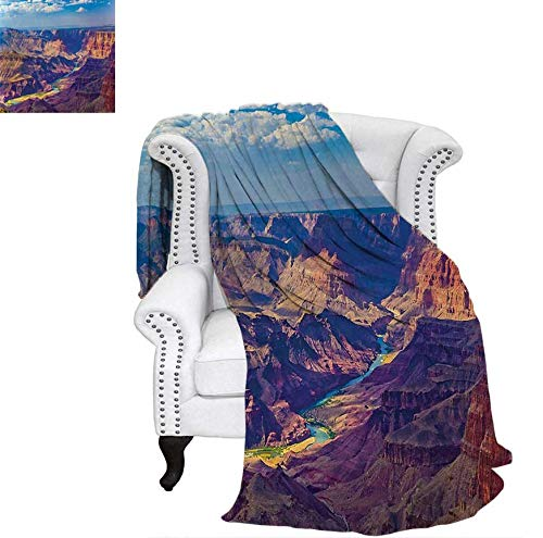 Super Soft Lightweight Blanket Aerial View of Epic Grand Canyon Activity of River Stream Over Rock Plateau Print Oversized Travel Throw Cover Blanket 70