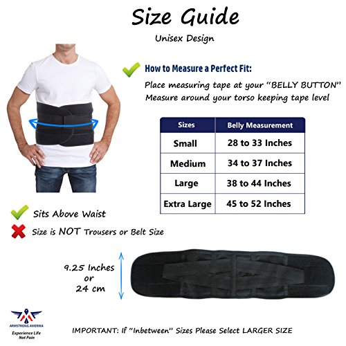 Back Brace for Lower Back Pain – Comfortable Lumbar Support Belt for Weight Lifting and Low Spine Stabilizer for Sciatica Nerve Relief or Scoliosis. Compression for Bulging Herniated Disc (Medium) by ARMSTRONG AMERIKA (Image #5)