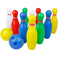 SGerste Bowling Toy Set Outdoor Indoor Bowling 10 Pcs Skittles Pins Game with 2 Balls for Kids Over 3 Years Old (Small…