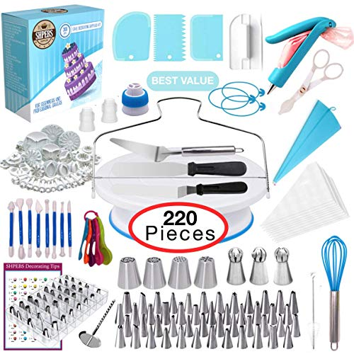 Shpebs UPDATED Cake Decorating Supplies | Cake Decorating Kit Baking Supplies Set | Rotating Cake Turntable Stand | Icing Piping Tips & Bags | Smoother & Spatulas, Frosting & Pastry Tools. (Best Cake Decorating Set)