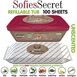 SofiesSecret XL PET Wipes, 100 Sheets +1Tub, All in One Grooming, for Paws, Coat, Skin, Face, Ears and Teeth, Made with only Naturally derived Ingredients, Oils & Extra, Cruelty Free and Vegan