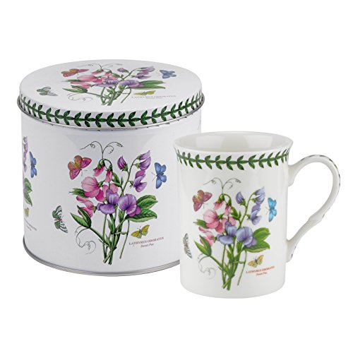 Botanic Garden Sweet Pea Motif Mug and Tin Set, Porcelain, Multi-Colour, 13 x 13 x 11.5 cm ()