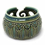 AshenWren Ceramics Yarn Bowl with Floral Slip Trailing, Emerald Green