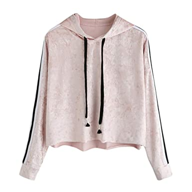 57f45ce486 Dimanul Hooded Sweatshirt Women Long Sleeve Pullover Sexy Teen Girls Top  New Blouse Printed Shirt Fashion Velvet at Amazon Women s Clothing store