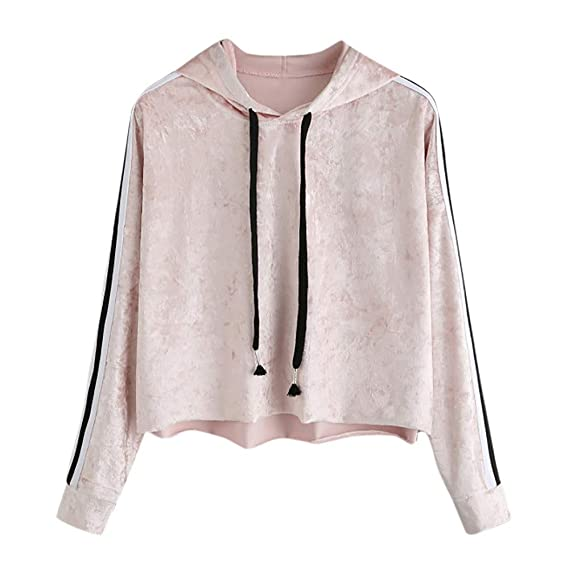 99f6000d3b Hoodies Kolylong Damen Elegant Samt Langarm Sweatshirt mit Kapuze Herbst  Locker Streifen Hoodie Pullover Kurz Sport