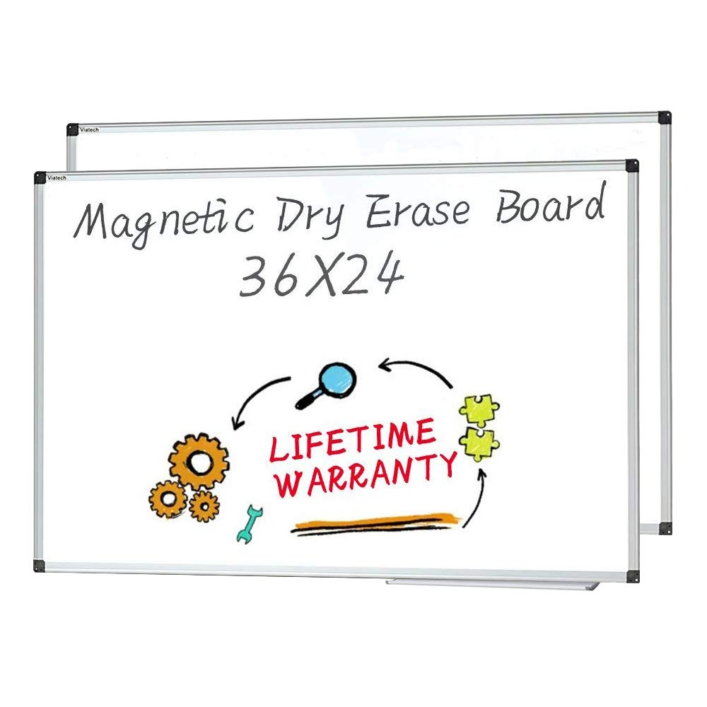 Magnetic Dry Erase Board, 36 X 24 Inches, 2 Pack, Silver Aluminium Frame Whiteboard Wall Mounted by maxtek