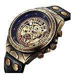Luxury Automatic Mechanical Men's Leather Belt Fashion Business Bronze Steel Waterproof Skeleton Watches 6