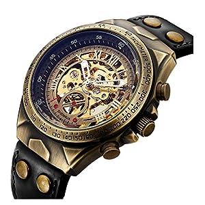 Luxury Automatic Mechanical Men's Leather Belt Fashion Business Bronze Steel Waterproof Skeleton Watches