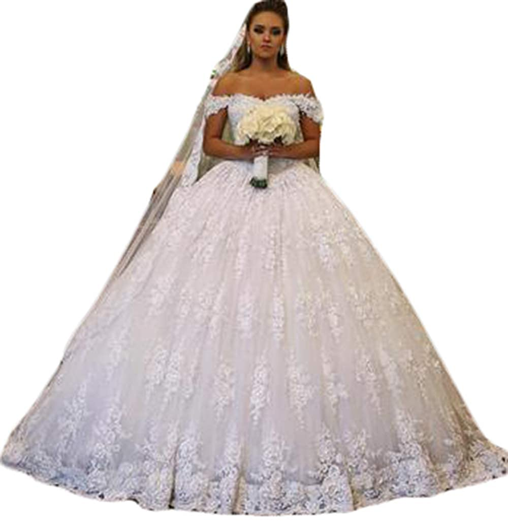 Ri Yun Womens Off The Shoulder Wedding Dresses Ball Gown Lace Tulle