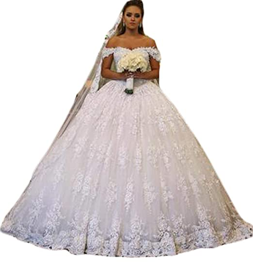 ec3cc66756 Ri Yun Women s Off The Shoulder Wedding Dresses Ball Gown Lace Tulle Wedding  Dresses for Bride 2019 with Cathedral Train at Amazon Women s Clothing store
