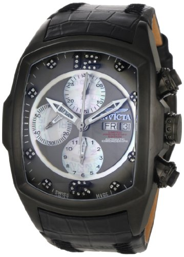 Invicta Men's 0513 Lupah Revolution Automatic Chronograph Diamond Accented Black Leather Watch