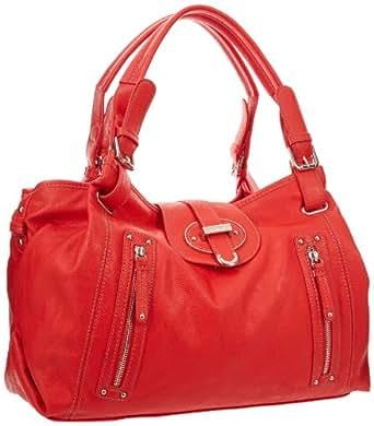 Nine West Zipster Satchel Handbag,Dark Hot Orange,One Size