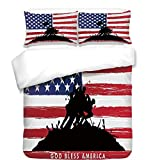 iPrint 3Pcs Duvet Cover Set,American,Bless America Silhouettes of American Soldiers USA Flag Background Valor Theme Decorative,Black Red,Best Bedding Gifts for Family/Friends