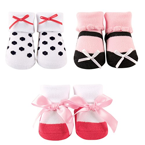 Luvable Friends 3-Pack Little Shoe Socks Gift Set, White/Pink, 0-9 Months