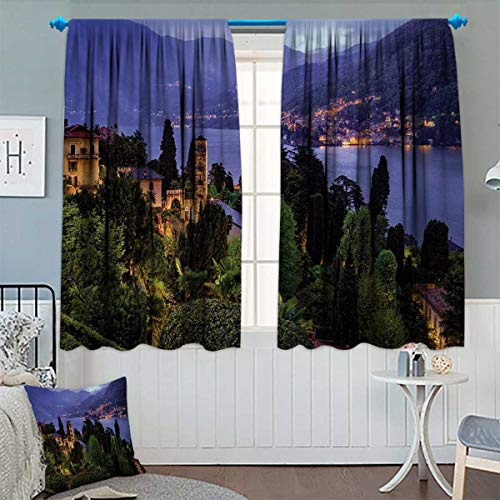 Lagos Rope - Italian Blackout Window Curtain Lago Di Camo Lake Famous Coastal Village with Aerial View Picturesque Panorama Customized Curtains 55