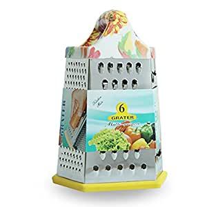 IBEET 6-Sided Box Grater with Rubber Handle, Stainless Steel, Large Light Multi-purpose Grater Slicer Shredder
