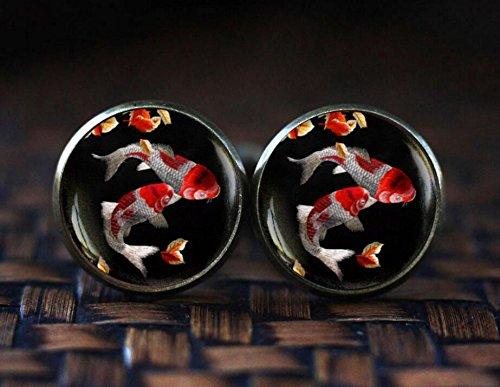 Japanese Koi Fish cufflinks, Koi Fish art cufflinks, Japanese art cufflinks, Asian Art cufflinks, Fish Water cufflinks from IDHFD5NNDDAAZ