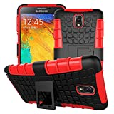 Heartly Flip Kick Stand Hard Dual Armor Hybrid Bumper Back Case Cover For Samsung Galaxy Note 3 III N9000 - Red