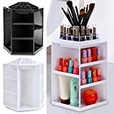 Mewalker 360 Degree Cosmetic Storage Box, Rotating Makeup Organizers Multi-Functional Makeup Cosmetic Organizer For Home Women Girl Makeup Brushes, Lipsticks, Fits Toner, Creams (US STOCK) (White)