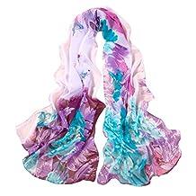 ChikaMika Printing Peony Silk Scarf Infinity Light Weight Long Silk Scarves(Blue)