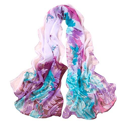ChikaMika Lightweight Scarves for Women Floral Wrap Shawls Fashion Chiffon Scarves (Silk Chiffon Scarf)