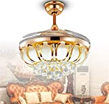 TOYM- 32-inch LED invisible golden crystal energy-saving lamps Modern fashion living room restaurant bedroom ceiling fan fan chandelie