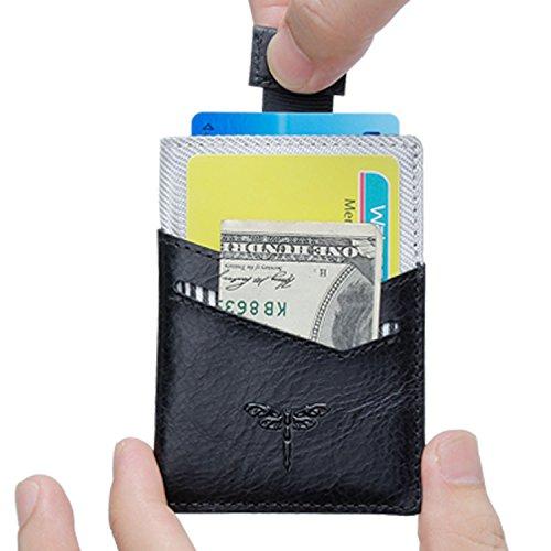 Black Leather Front Pocket Wallet - Slim Wallet RFID Front Pocket Wallet Minimalist Secure Thin Genuine Leather Credit Card Holder (Black)