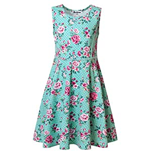 Jxstar Girls Summer Dress Sleeveless Printing Casual/Party 3-13Years