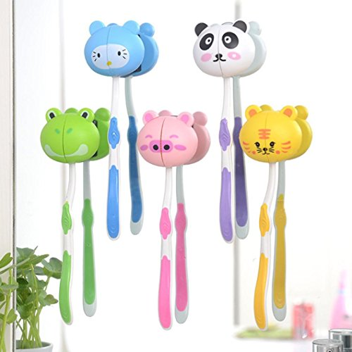 H+K+L Lovely Cartoon Animal Head Toothbrush Holder Stand Cup Mount Suction for children, Colorful