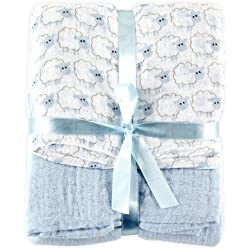 Hudson Baby 2 Count Muslin Swaddle Blanket, Blue