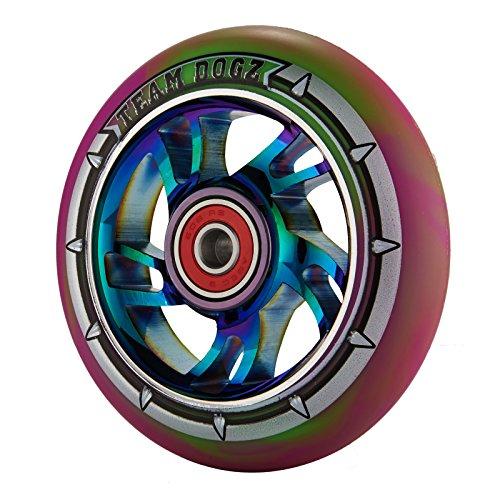 チームDogz 100 mmスクーターホイール – Rainbow Swirl withグリーン/パープルタイヤ