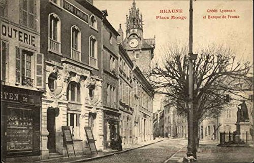 place-monge-credit-lyonnais-et-banque-de-france-beaune-france-original-vintage-postcard