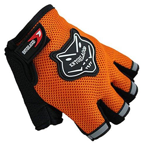 ZOONAI Cycling Gloves Boy Girl Child Children Mountain Bike Gloves Half Finger Biking Gloves Breathable Cycle Gloves (Orange)