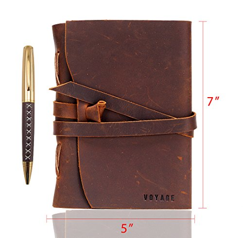 Premium Leather Journal Writing Notebook VOYAGE – Antique Style Handmade Daily Notepad – Handmade  Bound in Genuine Leather – 7 x 5.75 Unlined Pape…