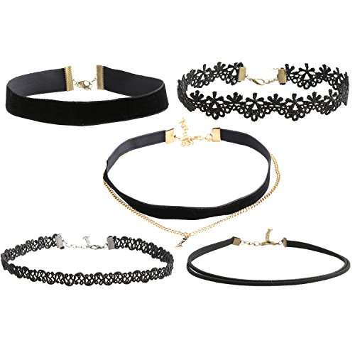 Pop Fashion 2 Pack, Black Choker Necklaces, Lace, Velvet, Layered Necklace, Trendy, Fashion, Jewelry for Women, Teens, Floral Lace, Faux Leather (Costumes For Women Last Minute)